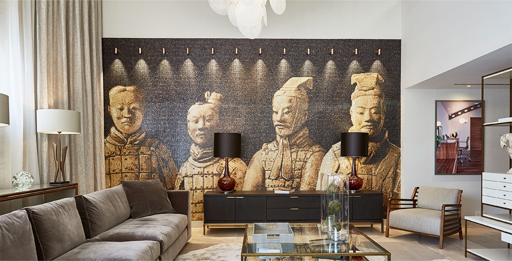 Jam Interiors showroom Bisazza mosaico Chinese warriors