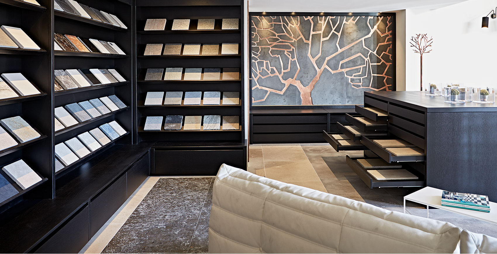 Jam Interiors showroom stone lab